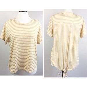 NWOT Lumiere Yellow Striped Tulip Tie Back Top